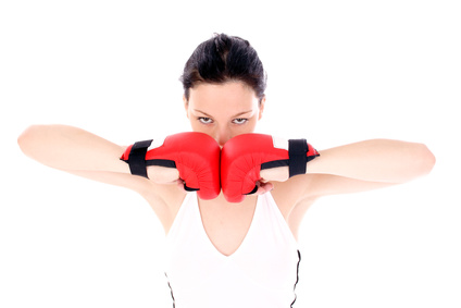Women boxing for tone-up, exercise and fitness